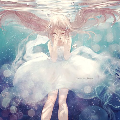 Luka from Vocaloid. Cute pretty anime girl with hpretty hair underwater and a dpretty dress