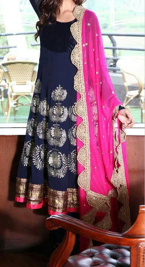 Navy blue and pink Anarkali