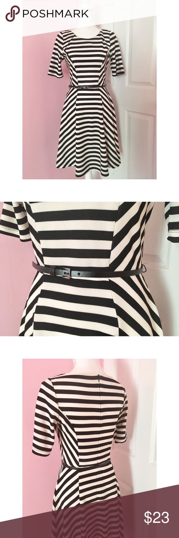 ✨SALE! Black & White Striped Dress  Size 10   Great Condition  ❌ Sorry No Holds/Trades/PayPal  ✅ Negotiable On Price   W BHS (Britain Home Store) Black and White Striped Dress. Beautiful dress in like new condition. Size 10 in UK which fits smaller (approximate size 6 in US) Comes with belt.   Model Size Bust  Waist  Hips W Dresses