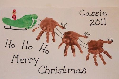 Reindeer handprints and sleigh footprint... cute!