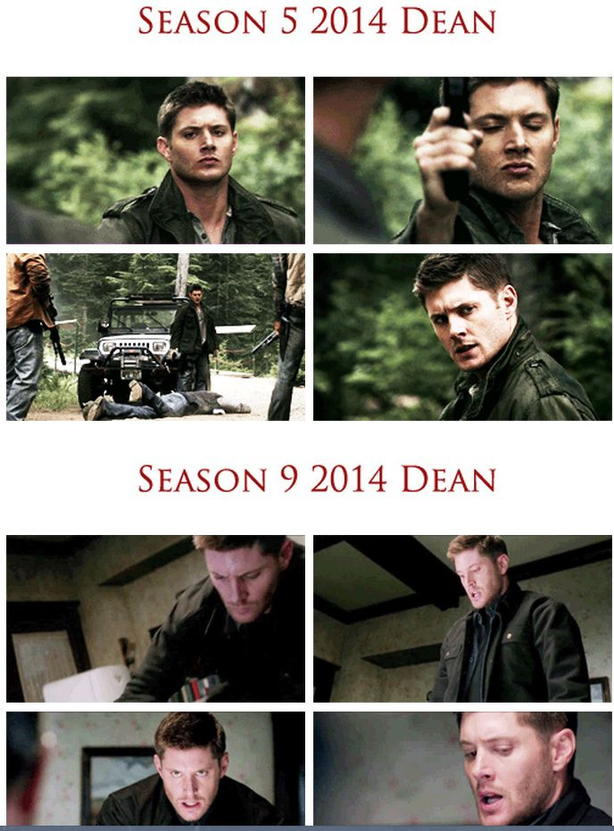 """[GIFSET] Season 5 2014 Dean and Season 9 2014 Dean. Quote from blogger Ash48--""""I couldn't help but compare the """"future"""" Dean in 5.04 The End and Dean from 9.11 First Born.  The same cold, determined look.  Dean isn't quite the cold blooded, feelingless killer that future!Dean was - but he sure is getting there.  I wonder if this is deliberate."""" --- Repinned for whole picture"""