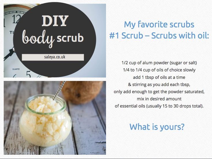 Spa experience, make the most of your products with a DIY body scrub. ‪#‎BodyScrubs‬ I love heart emoticon My favorite: I use Alum powder (natural stone) + Argan Oil + Essential oils of Orange blossom