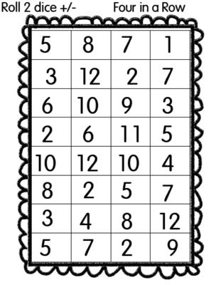 A fun math game... roll two dice add or subtract and color in the square. You need to get four in a row to win. Would be a good game to have printed off for students to use after they finish their work and have nothing else to complete.
