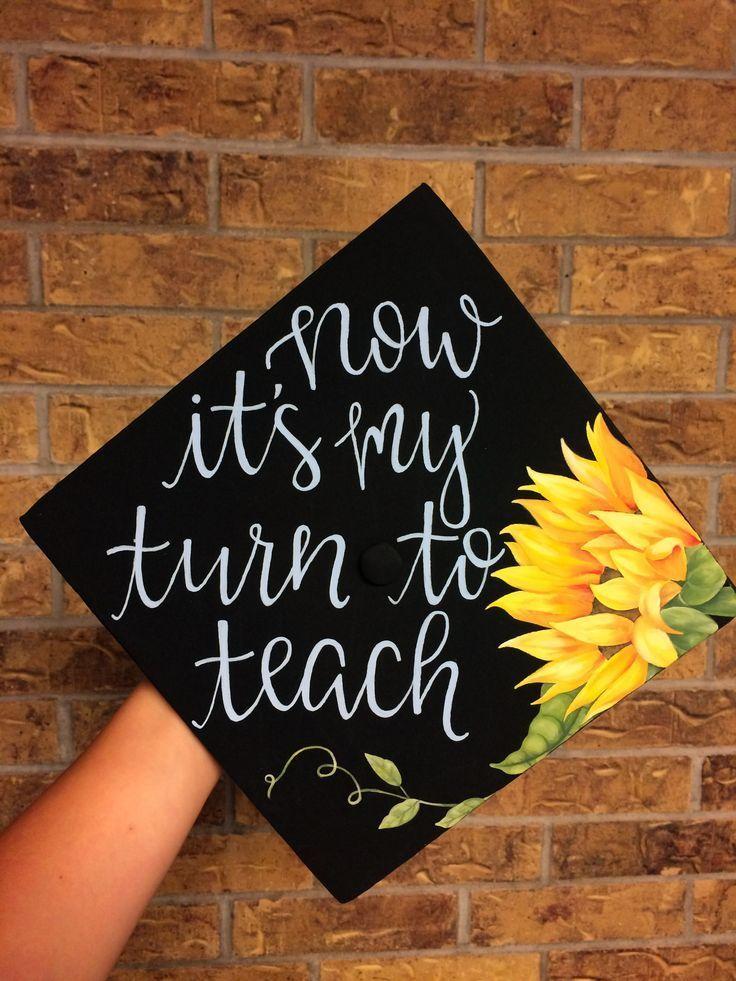 """""""Jetzt bin ich dran zu unterrichten"""" Sonnenblumen-Abschlusskappe für Lehrer"""