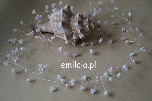 Girlanda z różowo - białymi perełkami różnej wielkości ozdoba do włosów 140 cm Girlanda  Ozdoba Ozdoby do włosów Ślub, I komunia Św., Bal, Studniówka, Wedding