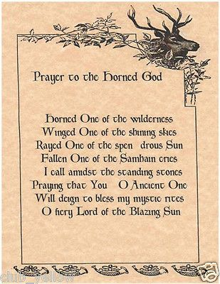 Prayer to the Horned God Page for Book of Shadows Parchment Wicca BOS Pages