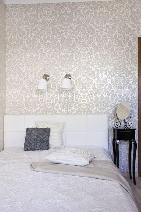 Sypialnia, tapeta, białe łóżko
