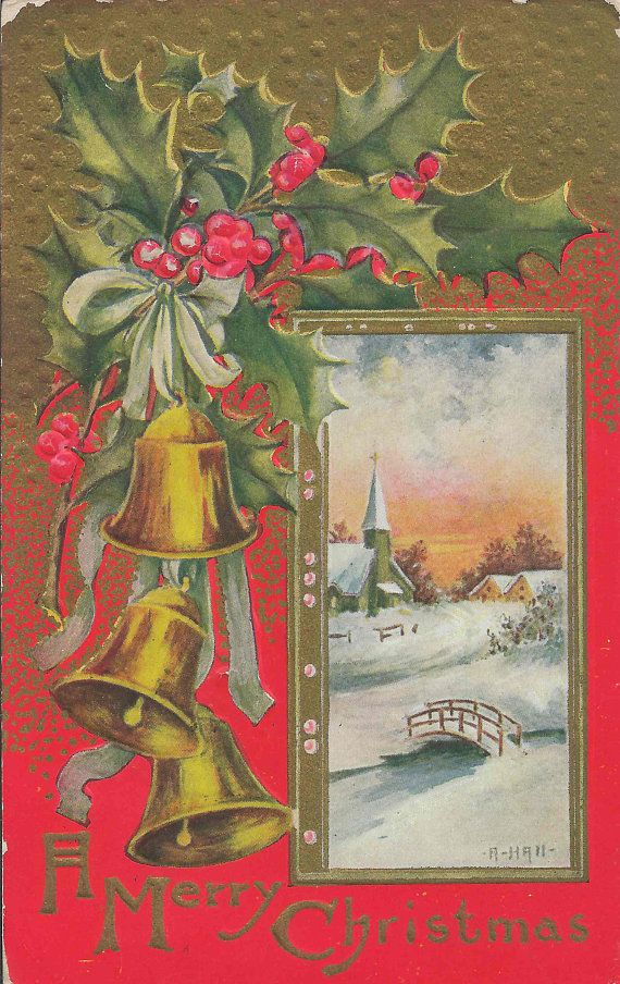 1909 Antique Postcard With A Merry Christmas Greeting on a Vivid Red and Gold Background With Three Golden Bells and a Snow Village Church
