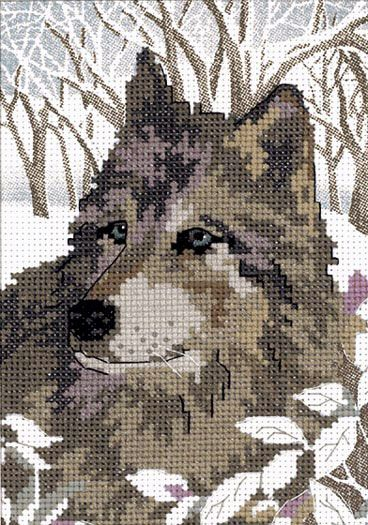 WINTER WOLF ~ No Count cross stitch kit ~ RARE