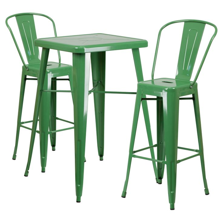Outdoor Flash Furniture Mason 3 Piece Metal Pub Table Set - CH-31330B-2-30GB-BK-GG