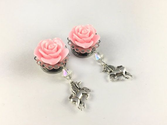 Kawaii Unicorn Dangle Plugs (Pair) With Pink Roses For Stretched Ears/Lobes, 6mm 8mm 10mm 12mm 14mm 16mm 18mm - Unicorn Plugs, Pretty Plugs