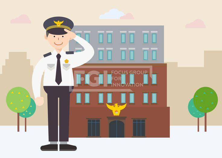 SILL200, 직업, 생활, 라이프, 벡터, 에프지아이, 사람, 캐릭터, 1인, 건물, 나무, 구름, 서있는, 남자, 경찰, 공무원, 경례…