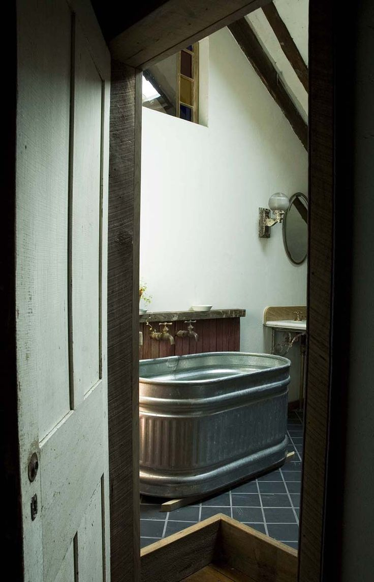 Wonder if this is cheaper than a regular tub? Galvanized metal tub in 18th c. Germanic mill-house pretty awesome