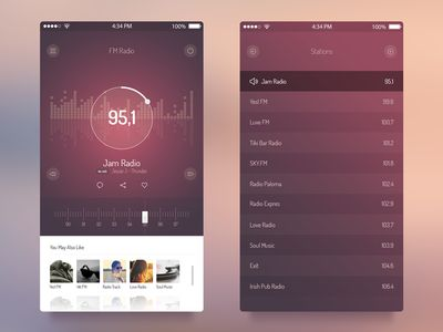 FM Radio UI - iOS 7 App found on Dribbble.