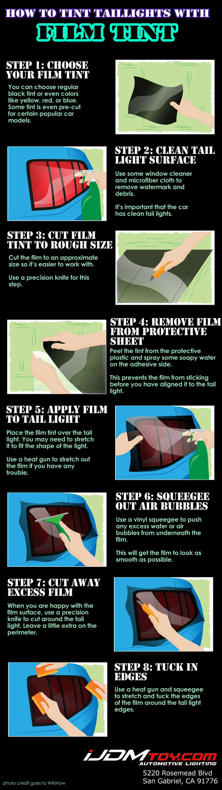 Step by step pictorial on how to apply film tint on car headlights.  #iJDMTOY #LED #JDM #Cars #FilmTint #CarTint #CarParts #Infographic #HowTo #DIY #Installation