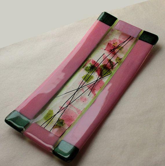 Fused Glass Art Plate Sushi Plate Rose Garden . $29.99, via Etsy.