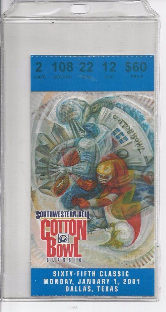 2001 Cotton Bowl Game Ticket Kansas State v Tennessee Vols n plastic casing | Sports Mem, Cards & Fan Shop, Vintage Sports Memorabilia, Ticket Stubs | eBay!