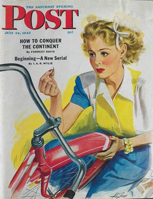 Flat Bike Tire. Saturday Evening Post, July 24, 1943 (Alex Ross)