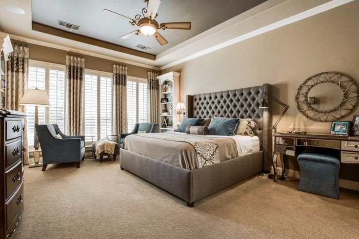Master Bedroom with Carpet, High ceiling, Ceiling fan, ADLER TUFTED FABRIC PLATFORM BED, Wall sconce, flush light