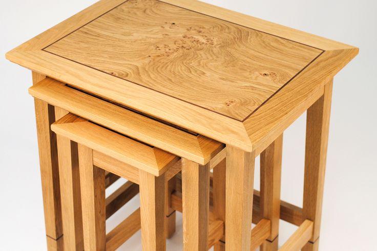 Superb Triple Nest Of Tables, Solid Oak Fame, Walnut Inlay And Pippy Oak Veneer   Tanner  Furniture Designs   Hertfordshire Showroom   01763287418