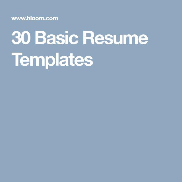 The 25+ best Basic resume ideas on Pinterest Basic cover letter - purpose of a resume