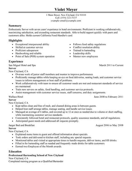 best hotel server resume example livecareer skills for resumes design
