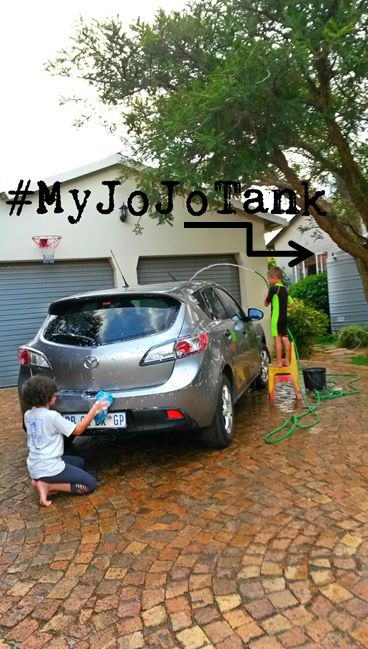 The kids wanted to earn some extra pocket money this weekend, so they washed my car. We connected the hose to the tap attached to our rainwater harvesting tank and they washed the car with water from our JoJo Tank! The kids had fun and it's nice to know this water won't be added to our monthly water bill! #RainwaterHarvesting #SaveWater #WaterWise