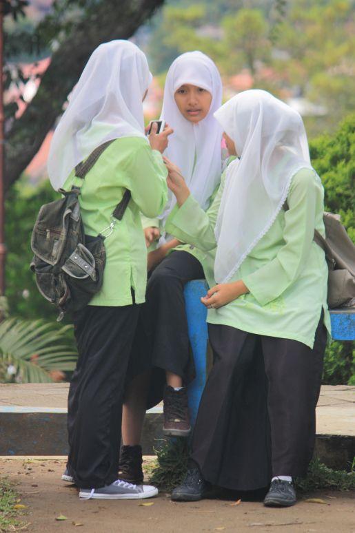 Bukittinggi -Muslim girls in school uniforms