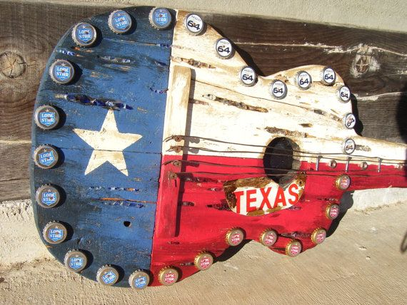 Texas Flag Decorative Guitar by CedarFever on Etsy, $146.00