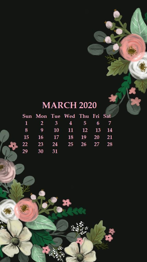 iPhone March 2020 Calendar Wallpaper Calendar wallpaper