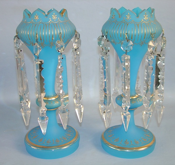 Pair of Blue Victorian mantle lusters with prisms