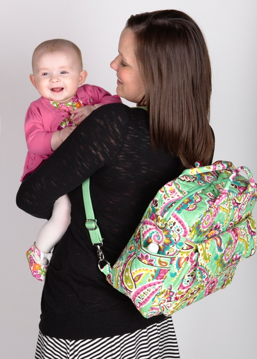 Sara Carries The Convertible Baby Bag In Tutti Frutti And Her Daughter Colette Style Pinterest Vera Bradley Diaper