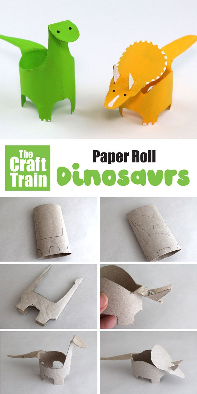 Paper roll dinosaurs