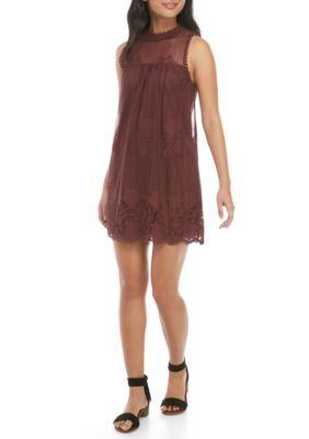 Miss Chievous Girls' Sleeveless Swing Dress - Berry Bark - Xs
