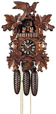 Cuckoo clock by Hones from the Black Forest in Germany with cuckoo bird hour movement, turning dancers plus movement to feed baby birds. Traditional carvings of birds and leaves. This is my selection if the same clock is purchased for each of the children as a second clock for each of them.