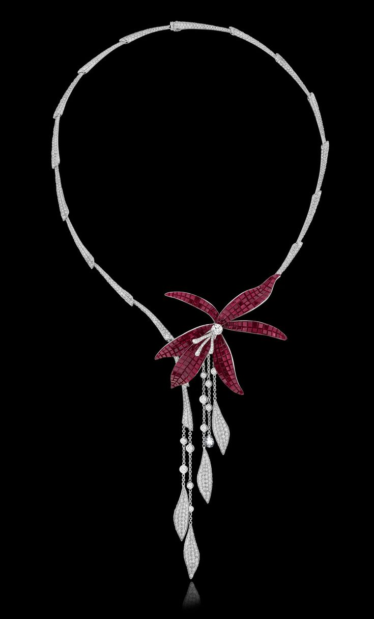 The Wild Orchid necklace of rubies and diamonds by Stenzhorn Jewelers (=)