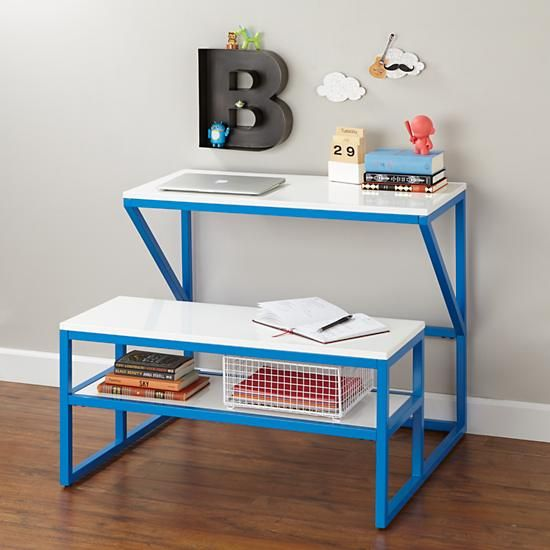 new school desk with bench cobalt white kids play table activity tables and side by side. Black Bedroom Furniture Sets. Home Design Ideas