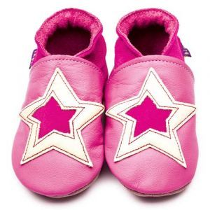 POW Rose Pink/Yellow Inch Blue Shoes - Soft Handmade Leather Baby Shoes