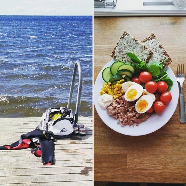 Sista veckan är det korta träningspass & BRA mat som gäller. ❤  Tonfisksallad tonfisk ägg majs körsbärstomater sallad fröknäcke smör
