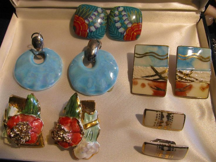 Vtg LOT 5 pr Ceramic or Plaster PRETTY Tropical HAWAII Island Wear EARRINGS  #KAHA