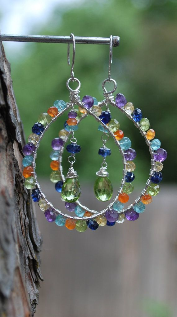 Colorful Wire Wrapped Gemstone Hoop Earrings with Sterling SIlver