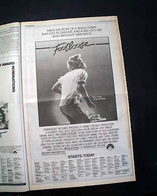 Best FOOTLOOSE Film Movie Opening Day AD & Review 1984 Los Angeles CA Newspaper | eBay