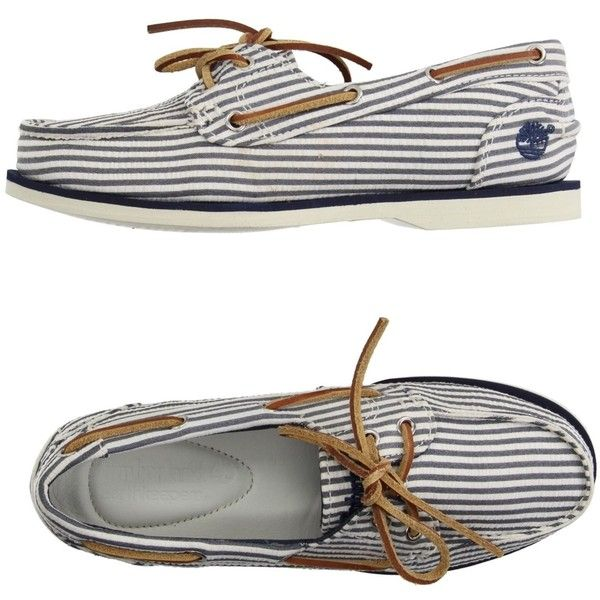 Timberland Loafer (£73) ❤ liked on Polyvore featuring shoes, loafers, dark blue, round toe loafers, dark blue shoes, boat shoes, striped flat shoes and topsider shoes