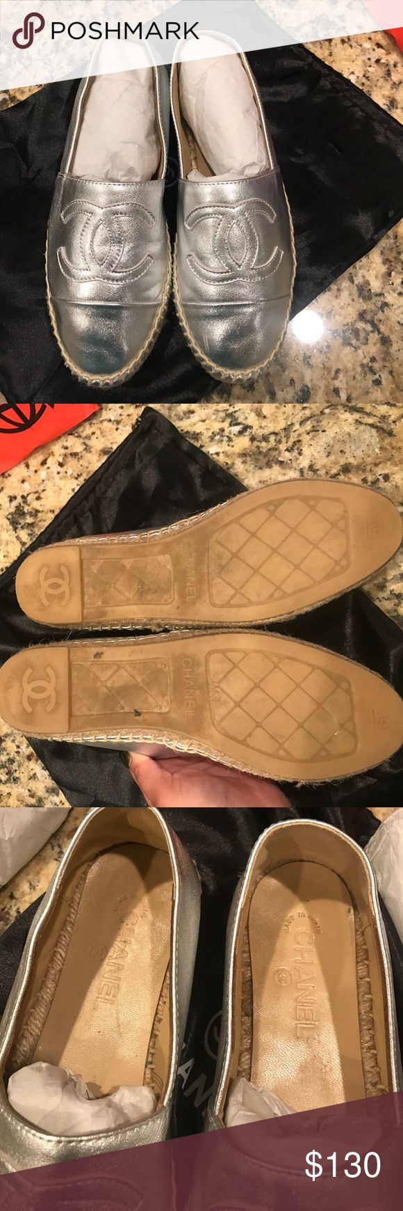 Chanel Espadrilles Inspired look. Great quality. Worn once. Firm priced item. Silver metallic color.  Like new. Shoes Espadrilles