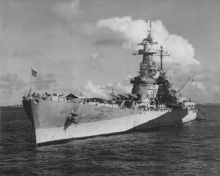 16 in USS North Carolina at Ulithi, Caroline Islands, 21 Nov 1944.  She and sister USS Washington were the US Navy's first post dreadnought era battleships, constructed in the 1930s to 35000 ton Washington Treaty limits.  This was problematic: though effective (Washington sank Japanese battleship Kirishima in November 1942) they were very cramped.