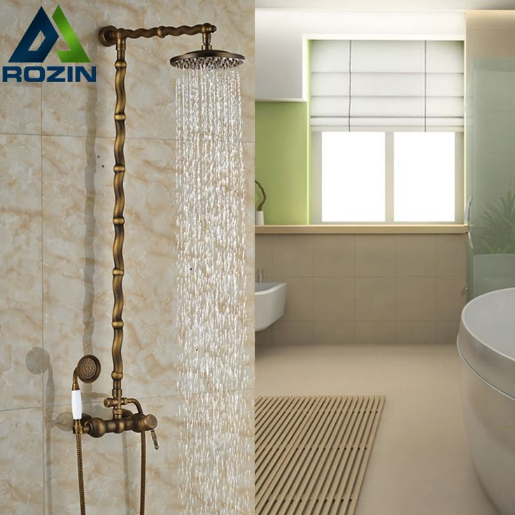 $150.60 | Buy Best Quality Single Lever In wall Rainfall Brass Shower Set Faucet Brass Antique Bath Shower Mixers from Reliable shower mixer bar suppliers on rozin Official Store