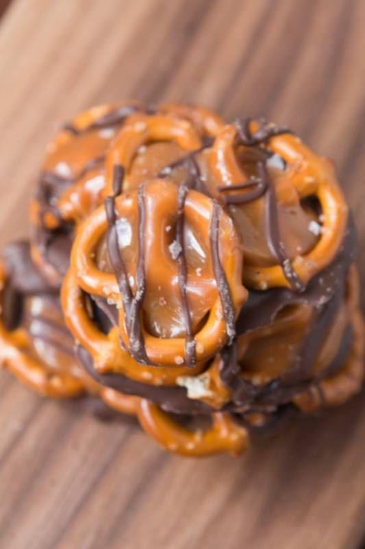 The best treat ever! Salted caramel pretzel snaps ohsweetbasil.com