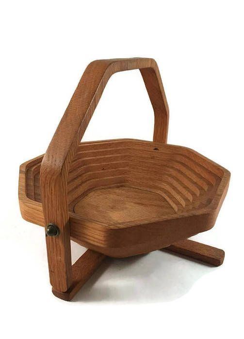 ON SALE Vintage Folding Wooden Basket Collapsible and