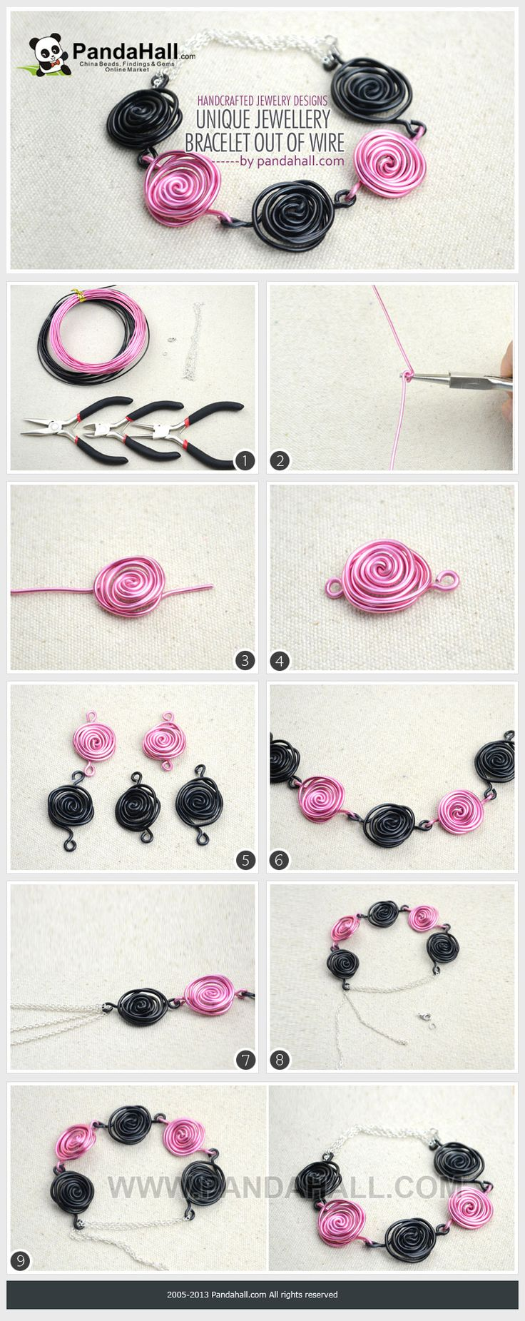 Using simple techniques, plain aluminum wire can easily be made into a unique jewellery bracelet that is decorated with delicate roses. It is a fairly pretty piece among the masses of handcrafted jewelry designs.