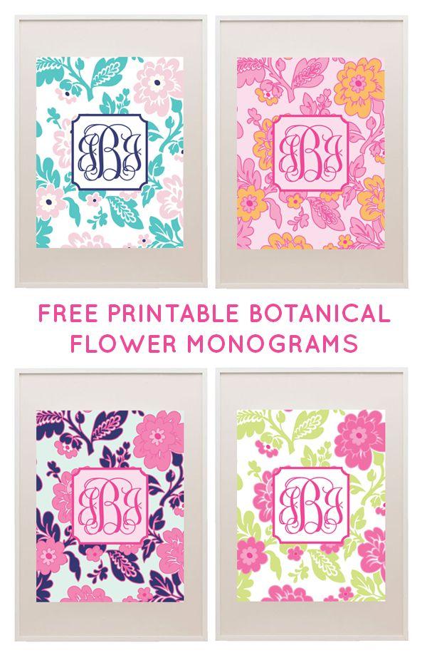 Free Printable Floral Monograms from printablemonogram.com #freeprintable